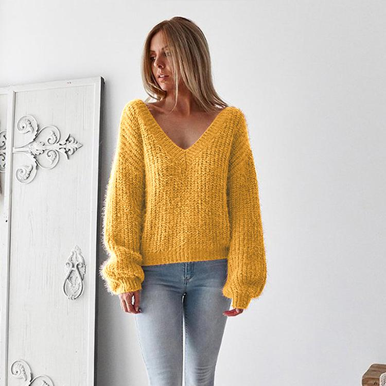 965c6fa488 Sexy V-neck Backless Lantern Sleeve Sweater Women Long-sleeved Jumper Loose  Sweater Autumn