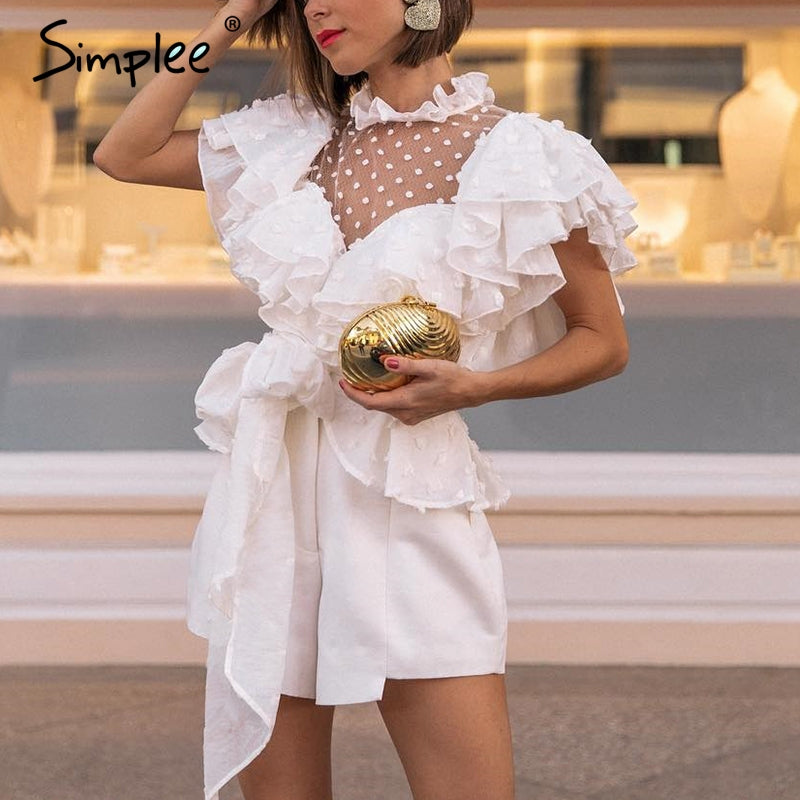 Elegant ruffled sleeve women blouse shirt Sexy mesh dot white blouse Chiffon sashes ladies tops party lace blouse shirt - sweet-casa.com
