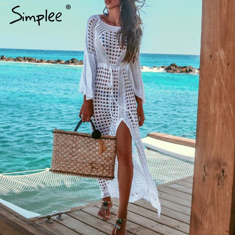 2019 Sexy white women beach dress Summer hollow out long sleeve split sundress Elegant fashion holiday party - sweet-casa.com