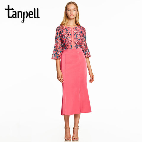 Tanpell mermaid cocktail dress  scoop half sleeves tea length gown women - sweet-casa.com