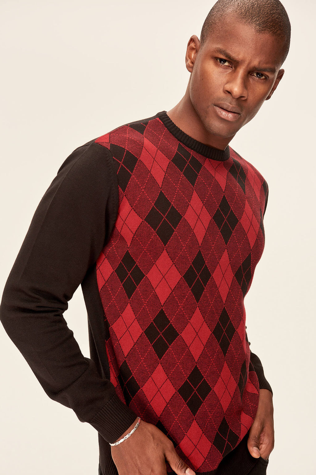 Trendyol Black Men's Knitwear Sweater - Diamond Pattern TMNAW19YT0010 - sweet-casa.com