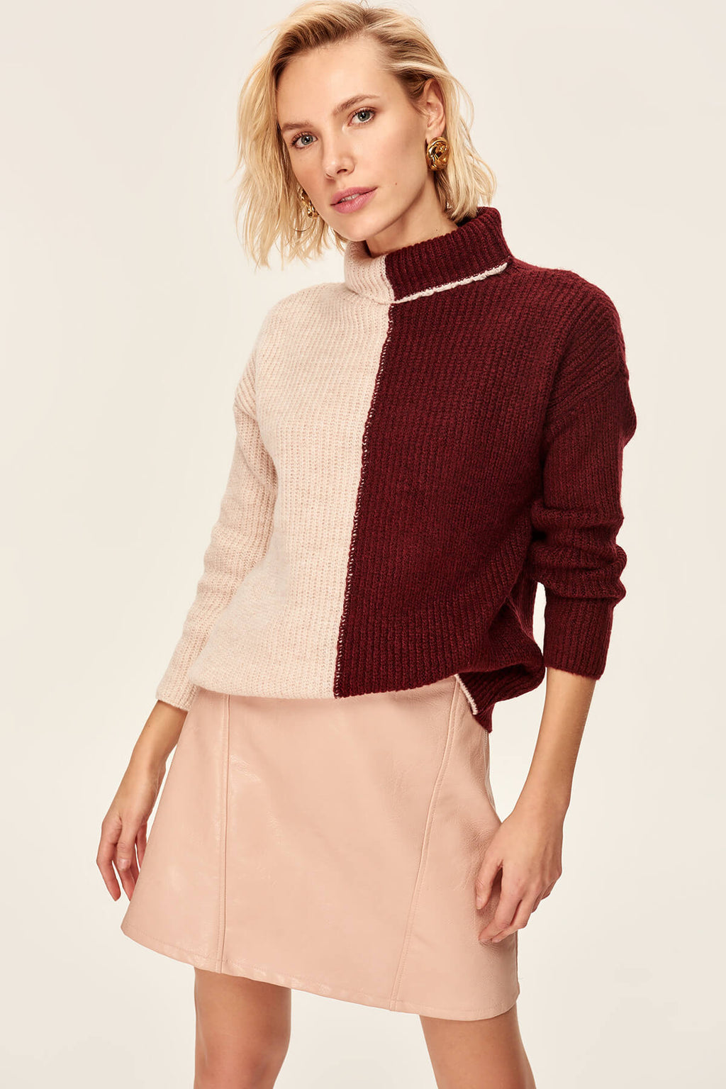 Trendyol Bordeaux Color Block Knitted Sweater TOFAW19LR0278 - sweet-casa.com