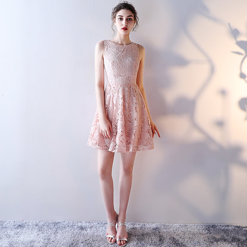 06bd93890c5 Unique Pearl Pink Lace Cocktail Dresses 2018 New Sexy Short Prom Dress  Scoop Sleevesless Zipper Mini