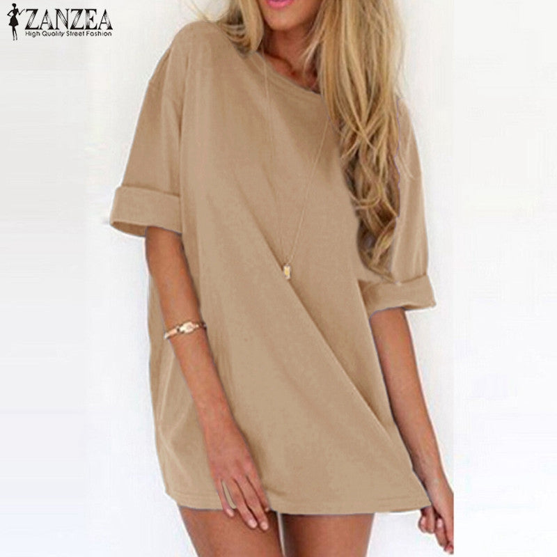 59236af514b6 ZANZEA 2018 Summer Style Fashion Women Casual Loose Dress Sexy Ladies Short  Sleeve Solid Color Mini