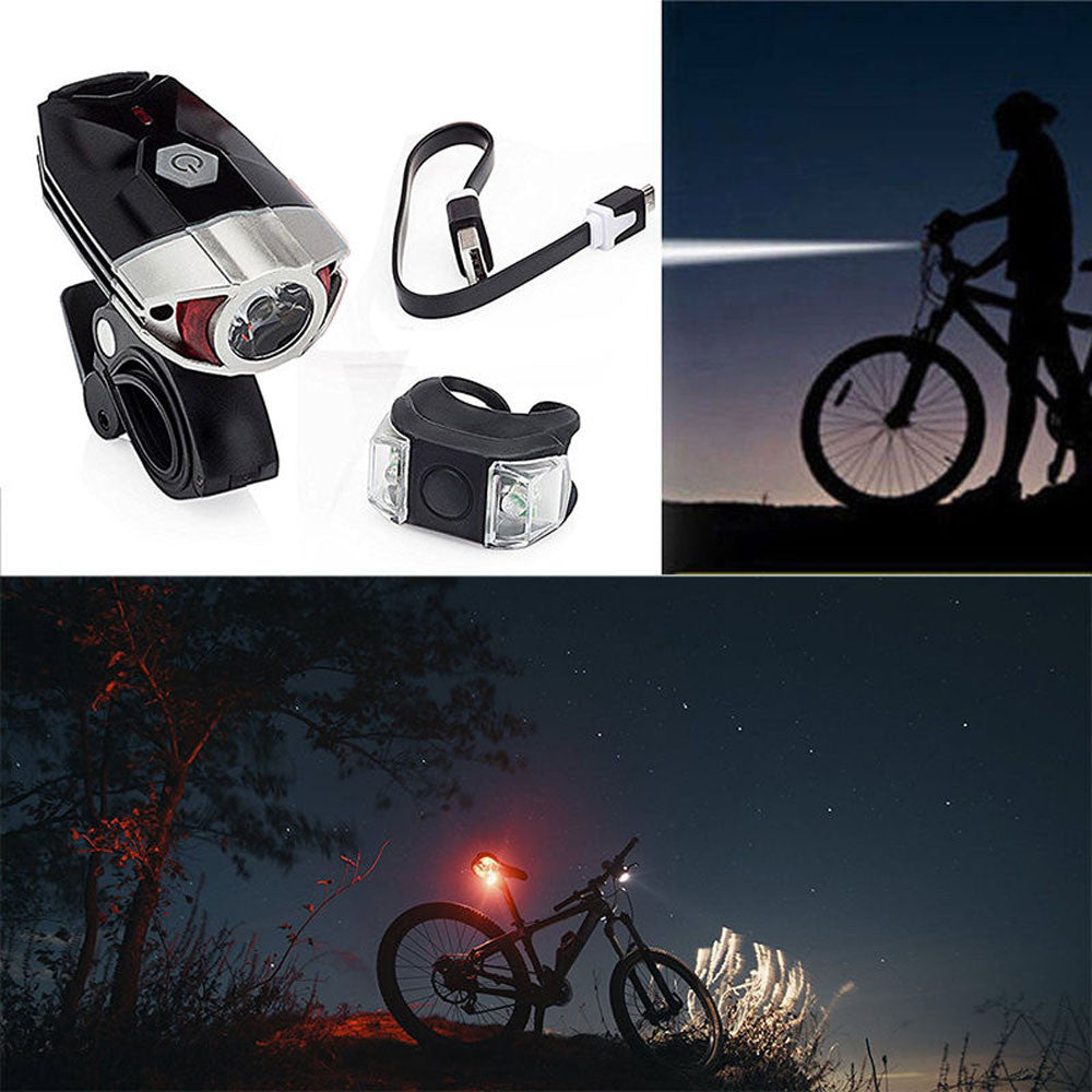 1pc  Cycling Waterproof Rechargeable Bike Bicycle Front Light Lamp+Safety Rear Light bicycle accessories - sweet-casa.com