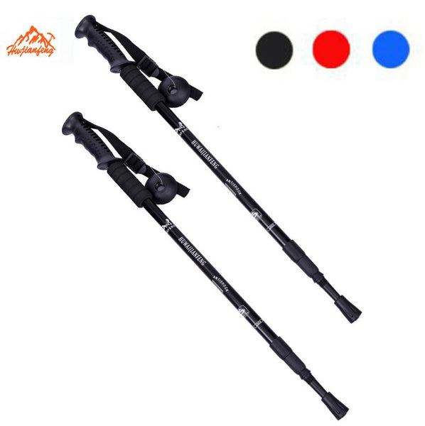 Pair Trekking Walking Hiking Sticks Poles Alpenstock Anti-Shock 52-110cm 3 Section Lightweight - sweet-casa.com