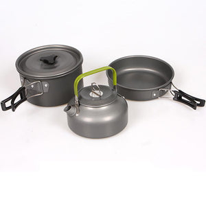 1set Aluminum High Quality Outdoor Cookware Set Picnic Cookware Cook Cooking Pot teapot #FC28 - sweet-casa.com