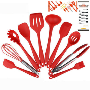 Set of 10pcs Silicone Kitchen Cooking Utensils Premium Heat Resistant and Non-Stick Kitchen Baking Tools - sweet-casa.com