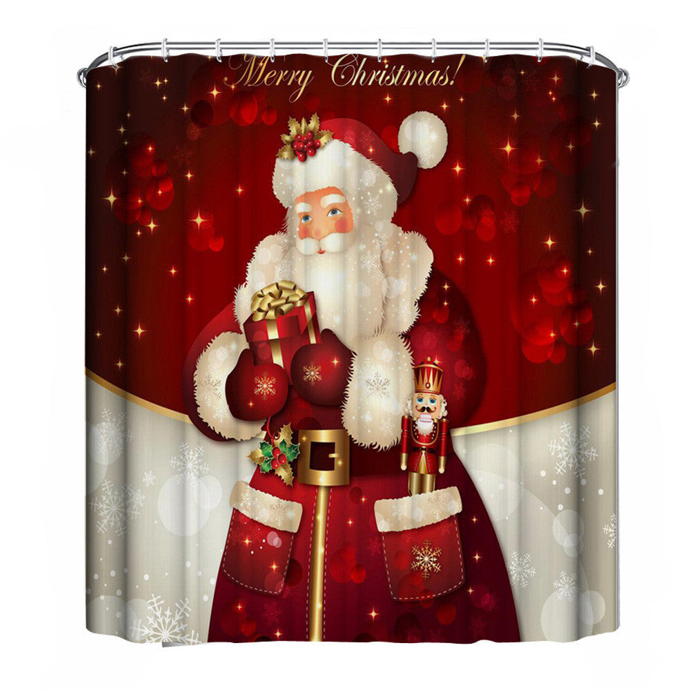 New Year Bathroom Curtains shower curtain Bathroom Waterproof Polyester Fabric 3D with rings hooks custom rideau de douche natal - sweet-casa.com