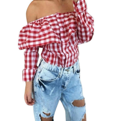 Sexy Off Shoulder Autumn Blouse Women Plaid Top Long Sleeve Blouse Ladies Casual Tops White Red Pink Shirt