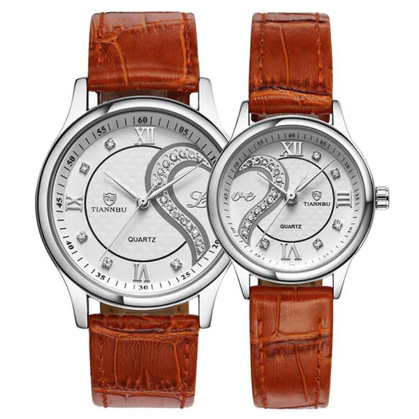 1 Pair Tiannbu Ultrathin Leather Romantic Fashionuple Wrist Watches - sweet-casa.com