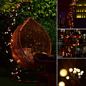 2.5m/8.2ft Flexible 72-LED Rattan Style String Light Bendable Warm White Globe Lamp with 8 Modes Memory Function Waterproof Decoration for Garden Home Patio Lawn Wedding Christmas Festival Party EU Plug AC 220V - sweet-casa.com