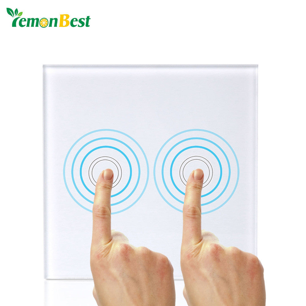 1 2 Gang 1 Way Tempered Glass Panel Intelligence Touch Wall Switch LED Indicator for Light with Wireless Remote Control EU/UK - sweet-casa.com