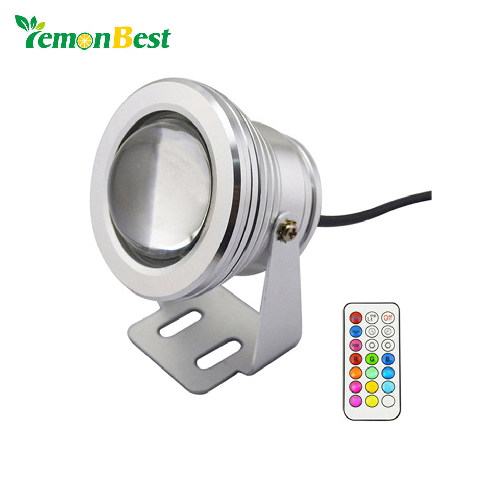10W 12V underwater RGB Led Light 1000LM Waterproof IP67 fountain pool Lamp Lights 12color change + 21key IR Remote controller - sweet-casa.com
