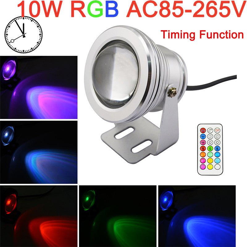 10W RGB LED Waterproof IP67 Underwater Fountain Light 12Color 1000LM Spotlight Timing Function Pool Pond Fish Tank Aquarium Lamp - sweet-casa.com