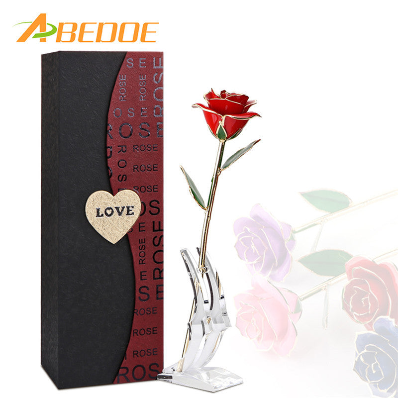ABEDOE Valentine's Day 24K Gold Artificial Rose with Transparent Stand and Exquisite Gift Box Wedding Decoration for Lover Bride - sweet-casa.com