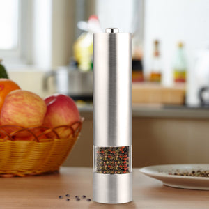 1Pcs Stainless Steel Automatic Electric Pepper Mill And Salt Grinder Seasoning Kitchen Tools Grinding Battery Powered - sweet-casa.com