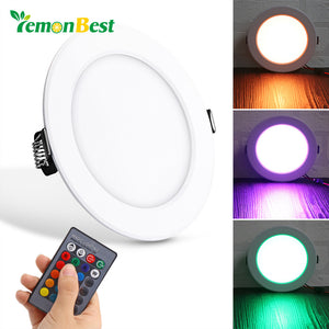 10W Round RGB LED Panel Light Concealed Recessed Ceiling Lights with Remote Control AC 85-265V - sweet-casa.com