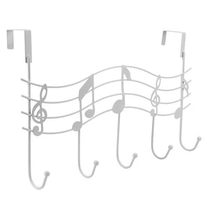 Over the Door 5 Hook Music Hanger Rack No Trace No Nails- Decorative Metal Hanger Space Saving Organizer for Your Clothes Coats - sweet-casa.com