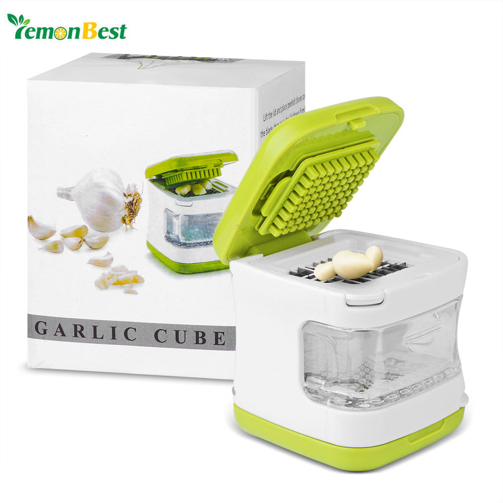 Stainless Steel Blades Mini Multifunctional  Garlic Press Crusher Gadget Ginger Chopper Cutter Mincer Inbuilt Clear Plastic Tr - sweet-casa.com