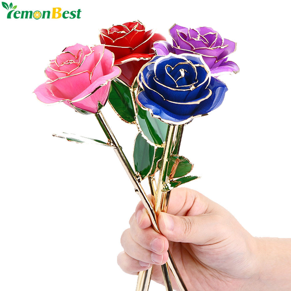 High-end 24k Gold Plated Rose With Transparent Stand And Exquisite Gift Box For Creative Valentine's Day Gift Anniversary Gift - sweet-casa.com