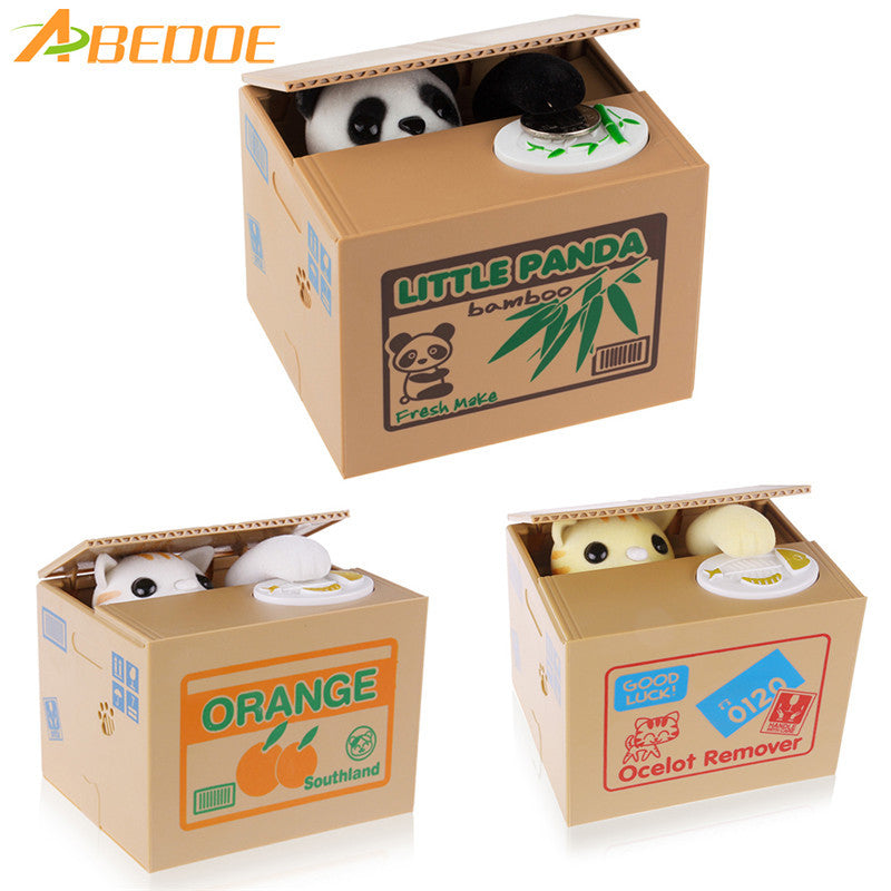 ABEDOE White/Yellow Cat Panda Piggy Bank Automated Itazura Coin Bank Steal Money Saving Safe Money Cash Coin Box for Children - sweet-casa.com