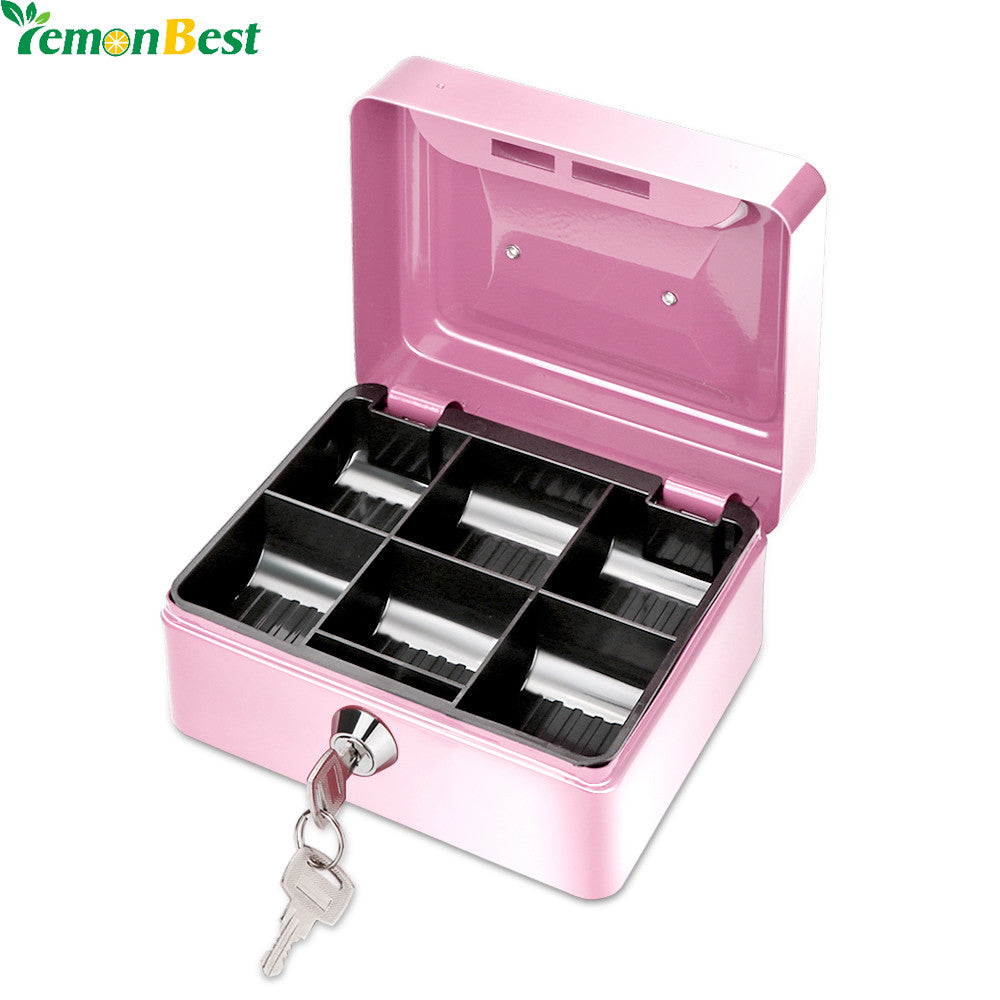 1Pcs Portable Money Box  6 Compartments Coin Cash Mini Safe Box for Home School Office With Tray Lockable Security Box - sweet-casa.com