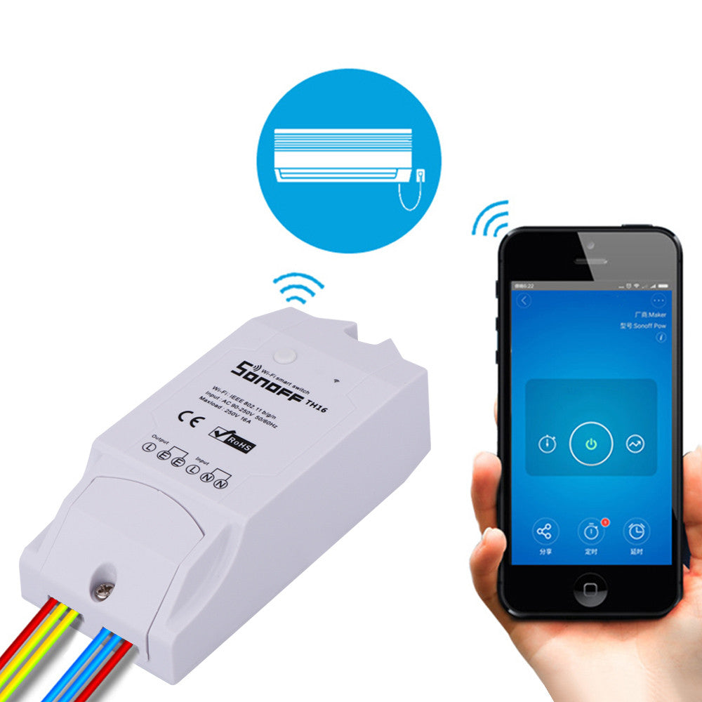 Sonoff Smart Wi-Fi Remote Control Switch Temperature/Humidity Controller Wireless Module 16A Low-cost Modified Update Smart Home Solution with Timer for iOS Android AC 90-250V - sweet-casa.com