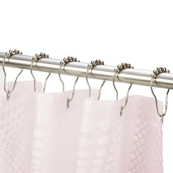 12PCS Shower Curtain Hooks Polished Stainless Steel Curtain Rings with Roller Ball - sweet-casa.com