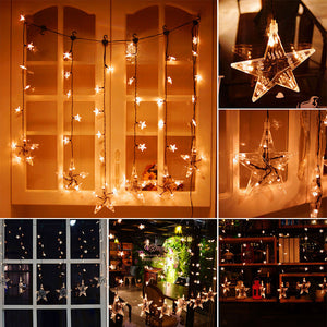 1*0.75m 60-LED Stars Curtain Light 36-Star String Light with 8 Modes Memory Function Waterproof Decoration for Garden Home Patio Lawn Wedding Christmas Festival Party EU Plug AC 220V - sweet-casa.com