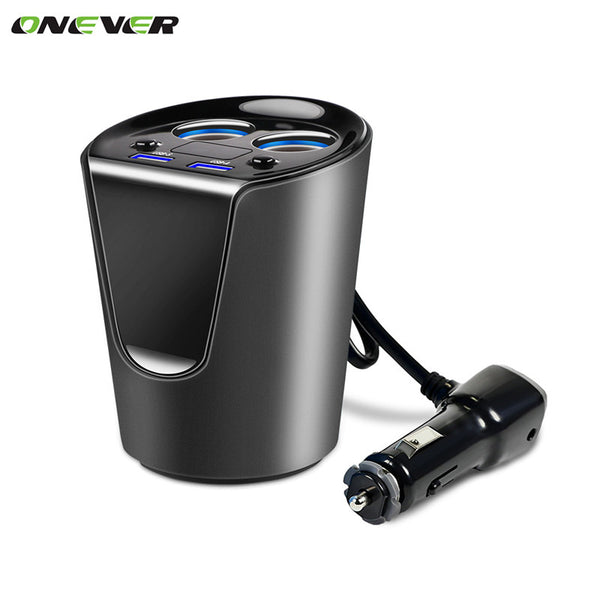 12-24V 3.1A Dual USB Car Charger Adaptor With Voltage Current Display Charger Car Cup Holder 2 Sockets Cigarette Lighter - sweet-casa.com
