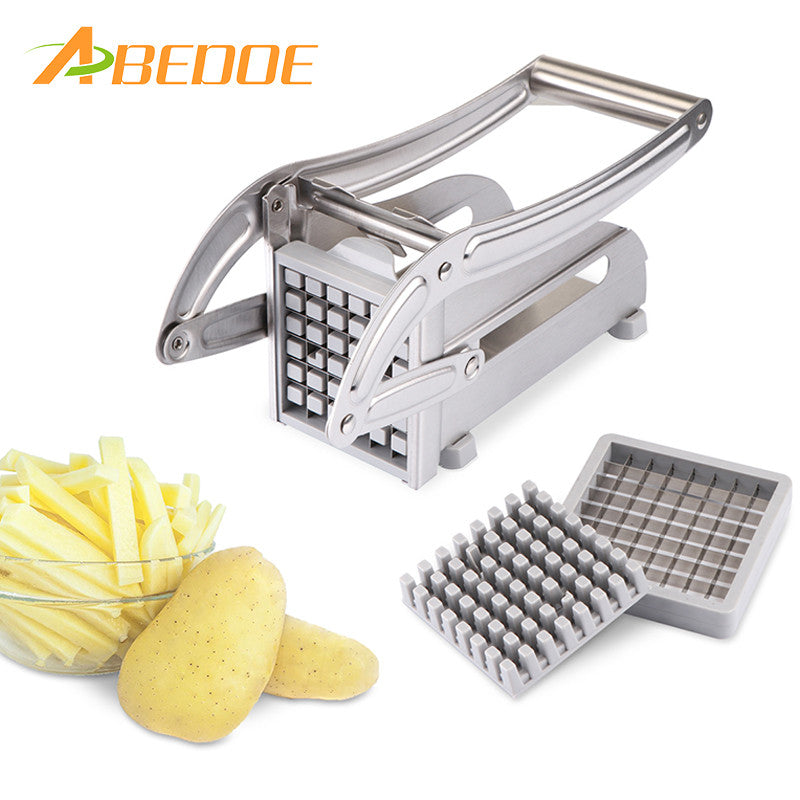 ABEDOE Stainless Steel Potato Cutter Fruit Vegetable Slicer French Fry Chopper Tool Potato Cutting Machine with 2 Blades - sweet-casa.com