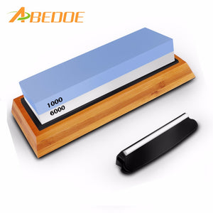 ABEDOE 6000/1000# Double-Sided Knife Sharpening Stone Whetstone Water Stone with Non-Slip Rubber Base Bamboo Holder for Kitchen - sweet-casa.com
