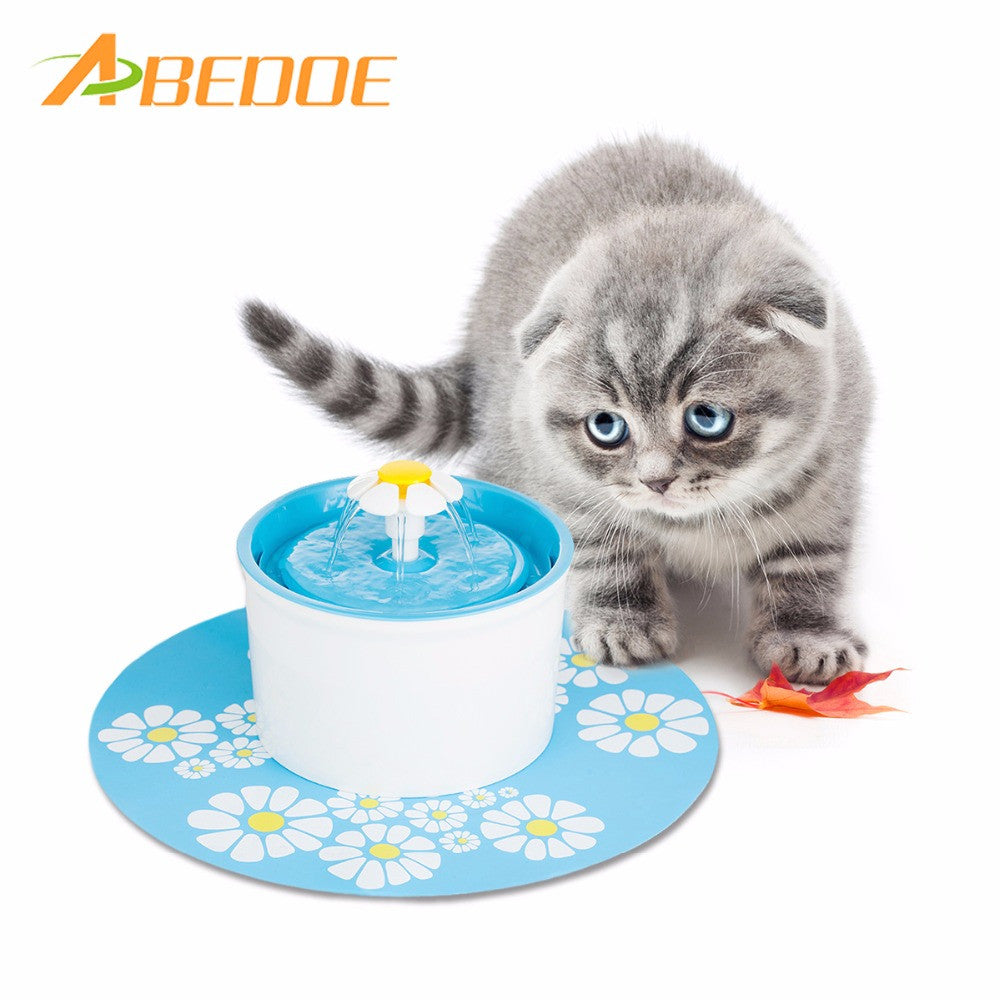ABEDOE 220V Electric Flower Pet Fountain 1.6L Automatic Dog Cat Water Feeder Drinking Bowl Pet Drink Cat Water Dispenser EU Plug - sweet-casa.com