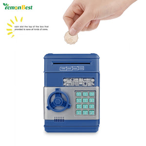 LemonBest Electronic Password Money Saving Box Coins Saving ATM Bank Safe Box Toy Automatic Deposit Banknote Children's Gift - sweet-casa.com