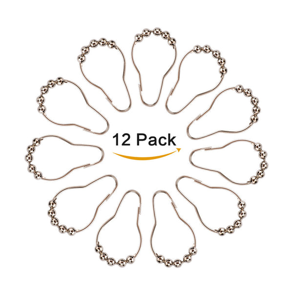 12PCS Shower Curtain Hooks Curtain Hooks Shower Curtain Rings Shower Curtain Hooks  with Roller Ball - sweet-casa.com