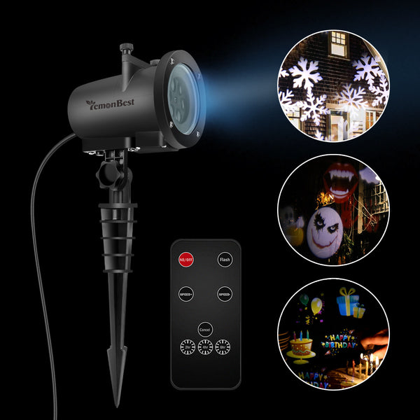 12W Remote Control LED Projector Light White Lawn Light Landscape Light with 20pcs Colorful Gobo Slides & Tripod & Base & Spike Support Timer/Speed/Flash Control for Xmas Birthday New Year Halloween Thanksgiving Party Holiday