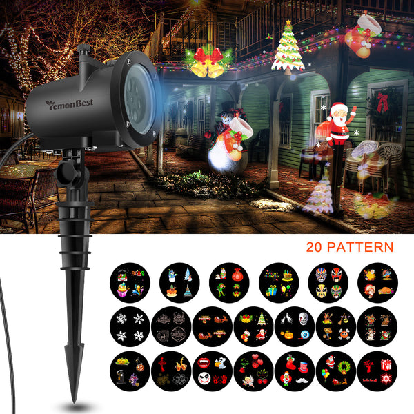 12W Remote Control LED Projector Light White Lawn Light Landscape Light with 20pcs Colorful Gobo Slides & Tripod & Base & Spike Support Timer/Speed/Flash Control for Xmas Birthday New Year Halloween Thanksgiving Party Holiday - sweet-casa.com