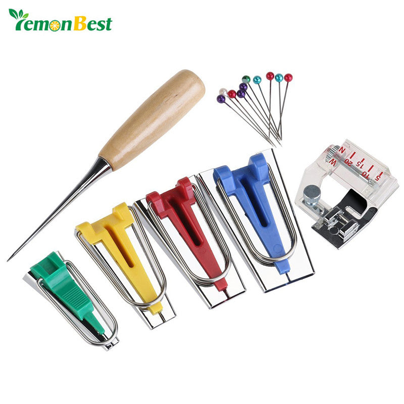 LemonBest 16pcs Bias Tape Maker Kit 6mm/12mm/18mm/25mm with Awl and Binder Foot for Sewing Quilting Binding - sweet-casa.com