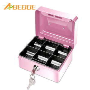 ABEDOE Small Metal Money Coin Cash Safe Box Piggy Bank with Lock 6 Compartments Cash Box Home Decor Craft Gift For Kids Children - sweet-casa.com