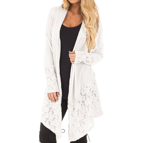 Women Fashion Lace Patchwork Long Sleeve Casual Pure Color Cardigan Coat - sweet-casa.com