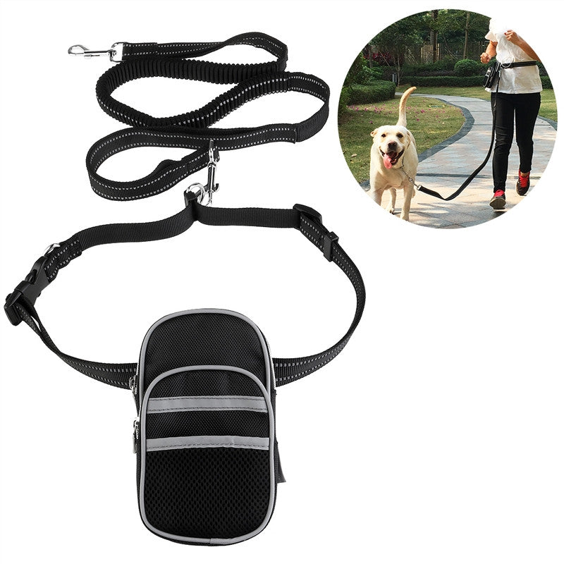 FOXNOVO Hands Free Reflective Waist Pet Leash Adjustable Elastic Dog Leash with Bag Dispenser for Running Hiking Jogging Waking - sweet-casa.com