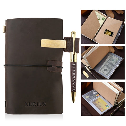 NUOLUX Classic Refillable Leather Journal Antique Writing Notebook Genuine Leather Refillable Diary with Pen and Pen Holder for Writing Drawing Sketching - sweet-casa.com