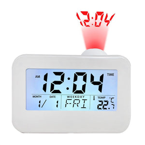 Date Temperature Humidity Display LED Backlit Voice Control Digital Projection Alarm Clock 12 /24 Hour With Snooze Hourly Chime - sweet-casa.com