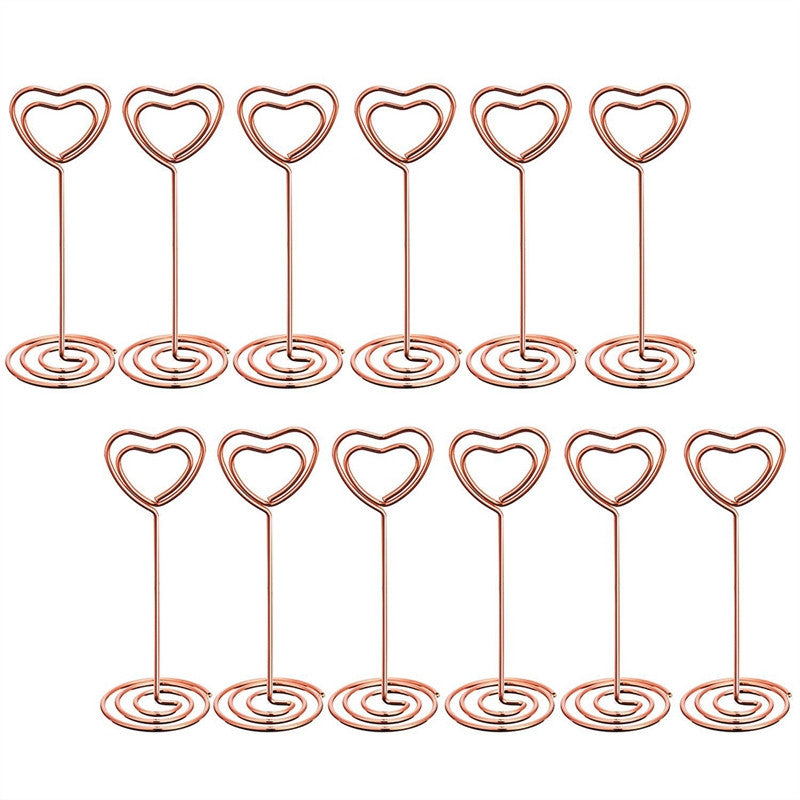 12 Pcs Heart Shape Photo Holder Stands Table Number Holders Place Card Paper Menu Clips for Weddings - sweet-casa.com