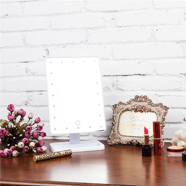 20 LED Lights Makeup Mirror Touch Screen Lighted Tabletop Cosmetic Mirror - sweet-casa.com