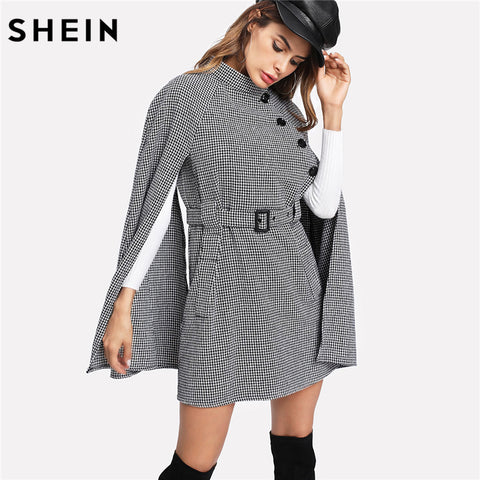 SHEIN Vintage Long Coat Women Black and White Fall Coat Cloak Sleeve Stand Collar Self Belted Houndstooth Cape Coat - sweet-casa.com