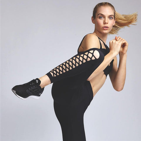 Hollow Out Quick Dry High Elasticity Women Fitness Sports Running Pants Gym Yoga Pants Leggings Tights Sportswear - sweet-casa.com