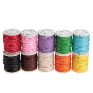 10pcs 10M 1MM Waxed Cotton Cords Strings Ropes for DIY Necklace Bracelet Craft Making - sweet-casa.com