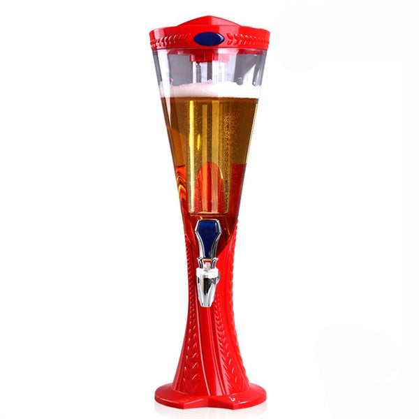 1.5 L Plastic Tabletop Detachable Wine Beer Tower Beverage Juice Dispenser